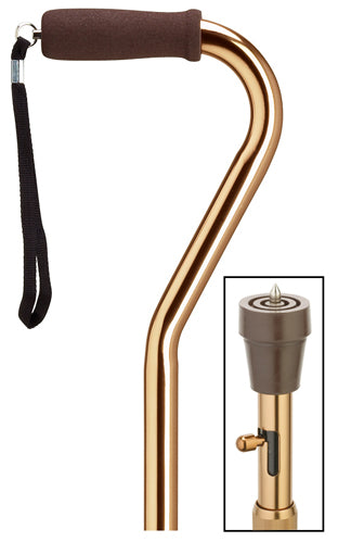 Bronze Offset Cane with built-in ICE PICK, adj 29-37
