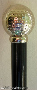 SILVER GOLF BALL on shiny black hardwood shaft 36
