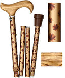 Zebrano Wood Derby Folding Adj Travel Cane 33.5-37.5