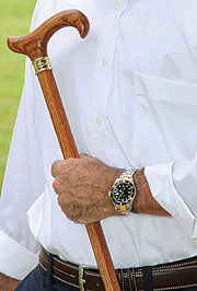 Genuine Oak Wood Derby Cane, Embossed Brass Collar 37.5