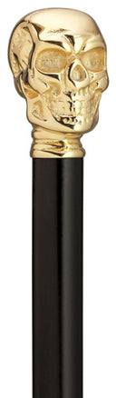 SKULL Gold-plated Brass on Black Walking Cane 36