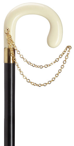 Ladies Crook with Gold Chain, White Ivory 36