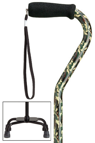 Camouflage Green Quad Cane, large base, 30-39