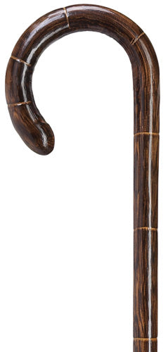 Solid Oak Scorched Stepped Crook Cane, Ladies 36