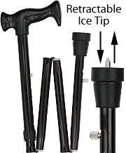 Black Folding Adjustable Retractable Ice Tip Cane 33-37