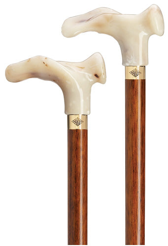 Creamy Marble Palm Grip Walking Cane | RIGHT | Cherry Shaft | 36