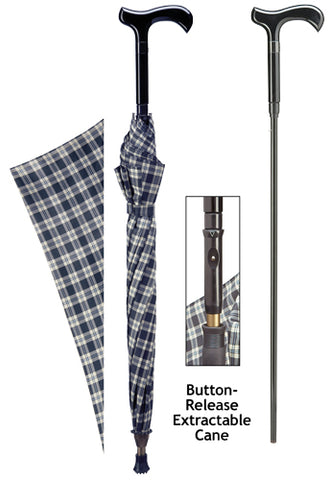 TARTAN Men's Derby Umbrella w/Removeable Cane 34