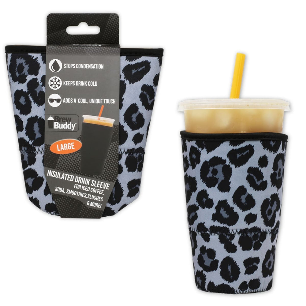 Brew Buddy Insulated Iced Coffee Sleeve | Grey Leopard LARGE