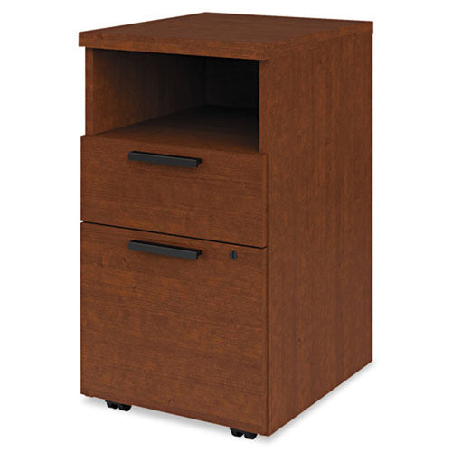 "1 Supply & 1 File Drawer Wooden Mobile Pedestal File w/ Storage Shelf, 18 7/8""d"