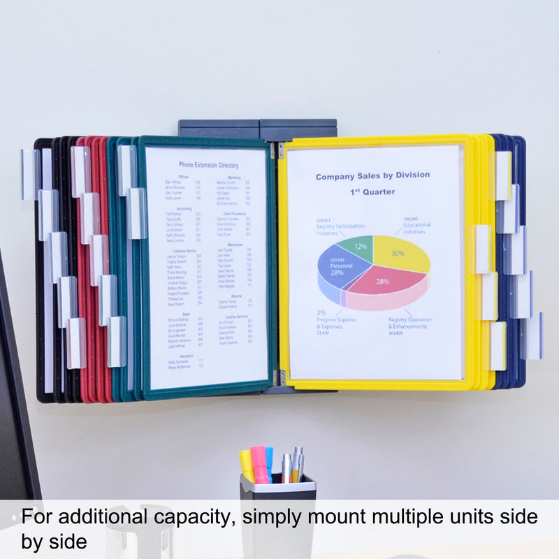 Ultimate Office DocuMate® 10-Pocket Wall Reference Organizer with Easy-Load Pockets, Steel-Reinforced Pins, and Free Bonus Panel