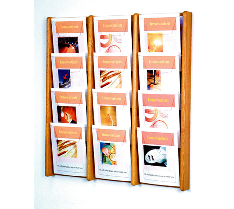 12 Pocket (3Wx4H) Acrylic & Oak Wall Display