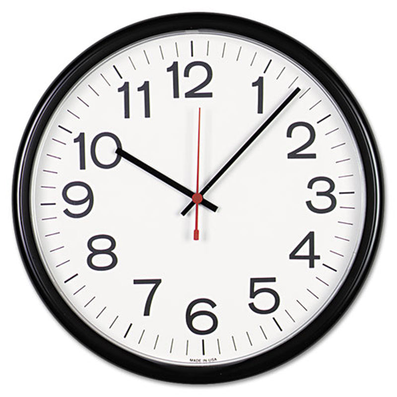 "13 1/2"" Indoor/Outdoor Wall Clock, Black"