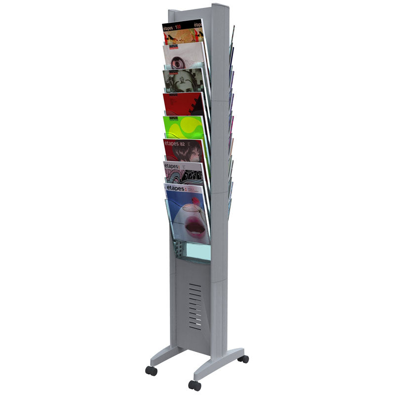 16-Compartment, 2-Sided Mobile Literature Tower