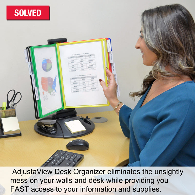 Ultimate Office AdjustaView 10-Pocket Desk Reference Organizer with Supplies Storage Base and EZ-LOAD Pockets to Hold 20 Sheets of Paper, Includes Fast Find Indexing Tabs, Black Base w/Colored Pockets