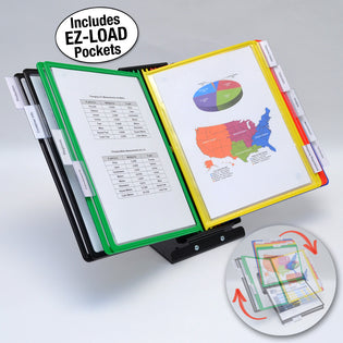 Ultimate Office SwitchFile Reference Organizer Displays BOTH Landscape or Portrait Documents, Desk or Wall Mount, Featuring, 10 EZ-LOAD Pockets & Tabs, Black Base with Colored Pockets
