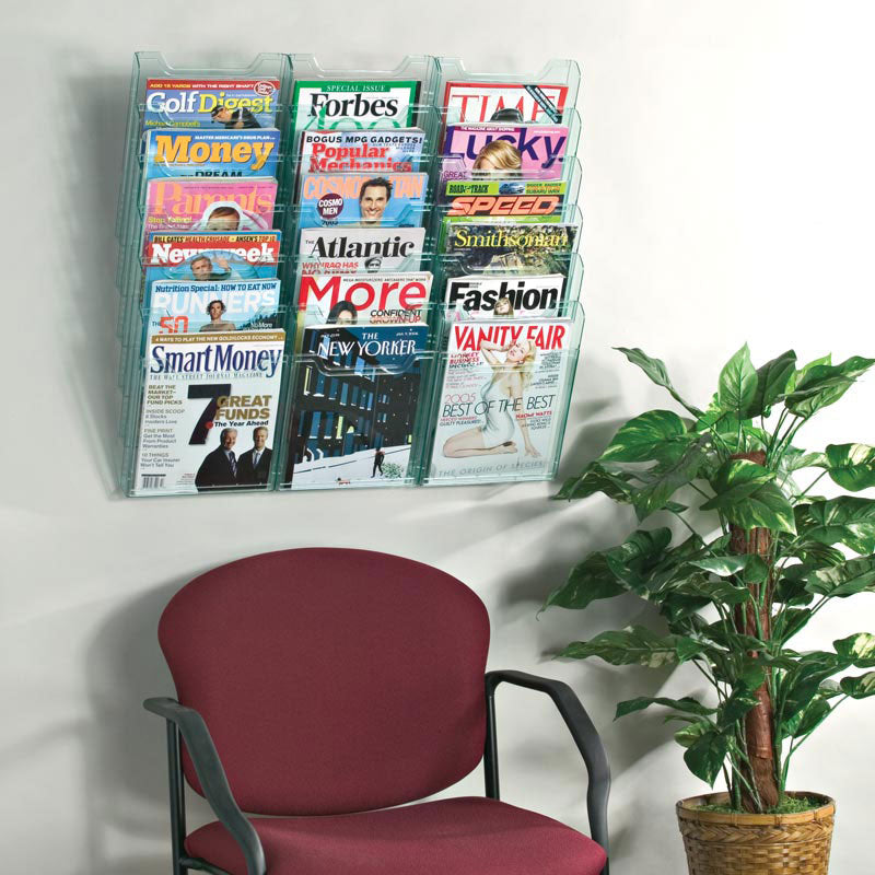 Ultimate Office Literature Display, Magazine Rack 18-Pocket Crystal Clear Cascading Modular Design Takes Up Less Wall Space and Can Be Expanded Top to Bottom and Side by Side Any Time!