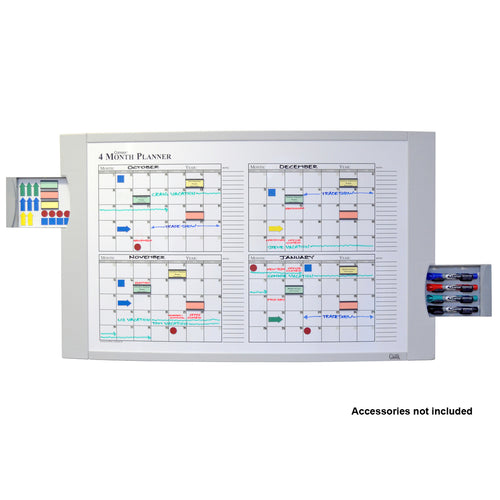 "Ultimate Office Convex Dry Erase 120-Day Monthly Magnetic Planning Board, 48"" x 36"" Curved Surface with Two Hidden Marker / Storage Drawers and Easy Mount Wall Hardware"