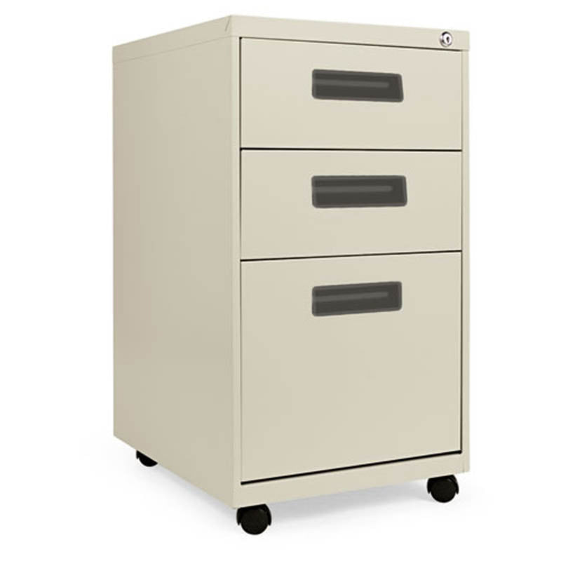 "2 Supply & 1 File Drawer Mobile Pedestal with Recessed Pulls, 19 1/2""d"