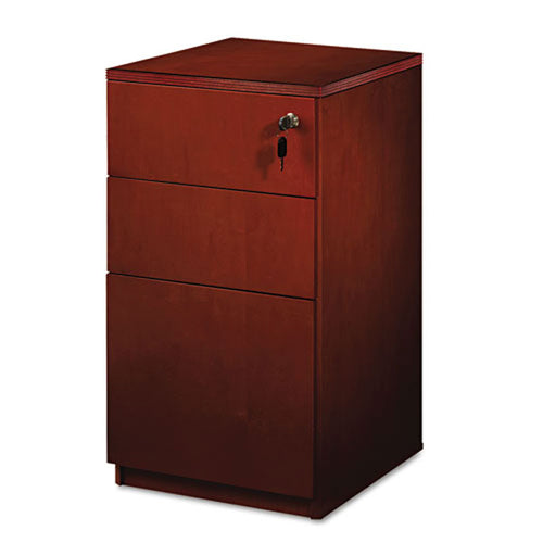 "2 Supply & 1 File Drawer Wooden Pedestal File, 20""d, Cherry"