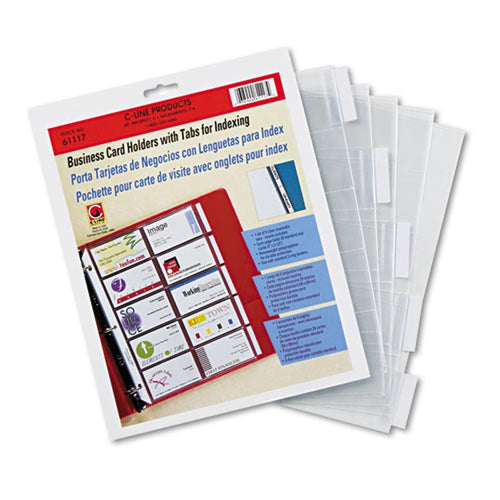 3-Ring Business Card Pages with Index Tabs & Labels (set of 5 pages)