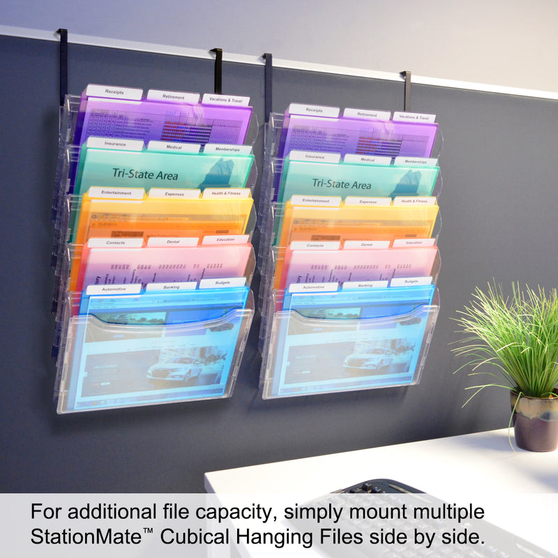 Ultimate Office StationMate® 5 Compartment Cubicle File Folder Holder Over the Panel Partition Display Rack Includes Your Choice of 5th-Cut or 3rd-Cut PocketFile Project Files