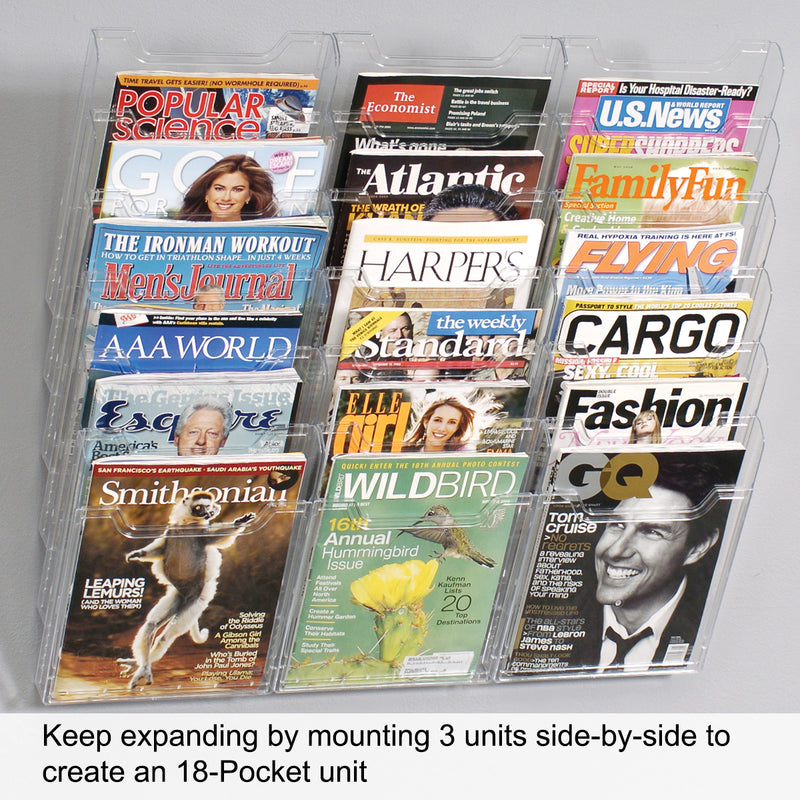Ultimate Office Literature Display, Magazine Rack 12-Pocket Crystal Clear Cascading Modular Design Takes Up Less Wall Space and Can Be Expanded Top to Bottom and Side by Side Any Time!