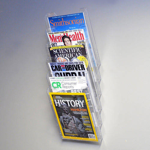 Ultimate Office Literature Display, Magazine Rack 6-Pocket Crystal Clear Cascading Modular Design Takes Up Less Wall Space and Can Be Expanded Top to Bottom and Side by Side Any Time!