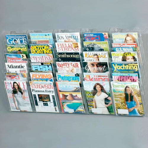 Ultimate Office Literature Display, Magazine Rack 30 Pocket Crystal Clear Cascading Modular Design Takes Up Less Wall Space and Can Be Expanded Top to Bottom and Side by Side Any Time!