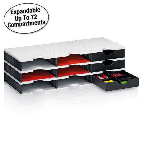 Ultimate Office TierDrop Desktop Organizer/Forms Sorter, 9-Compartments with 3 Storage Drawers with Dividers, and Optional Add-On Tiers for Easy Expansion