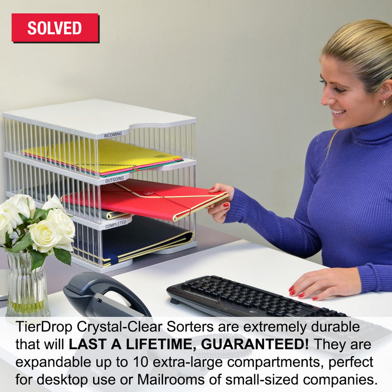Ultimate Office TierDrop™ Desktop Organizer Document, Forms, Mail, and Classroom Sorter. 8 Extra Large, (1w x 8h), Crystal Clear Compartments with Optional Add-On Tiers for Easy Expansion - Lifetime Guarantee!
