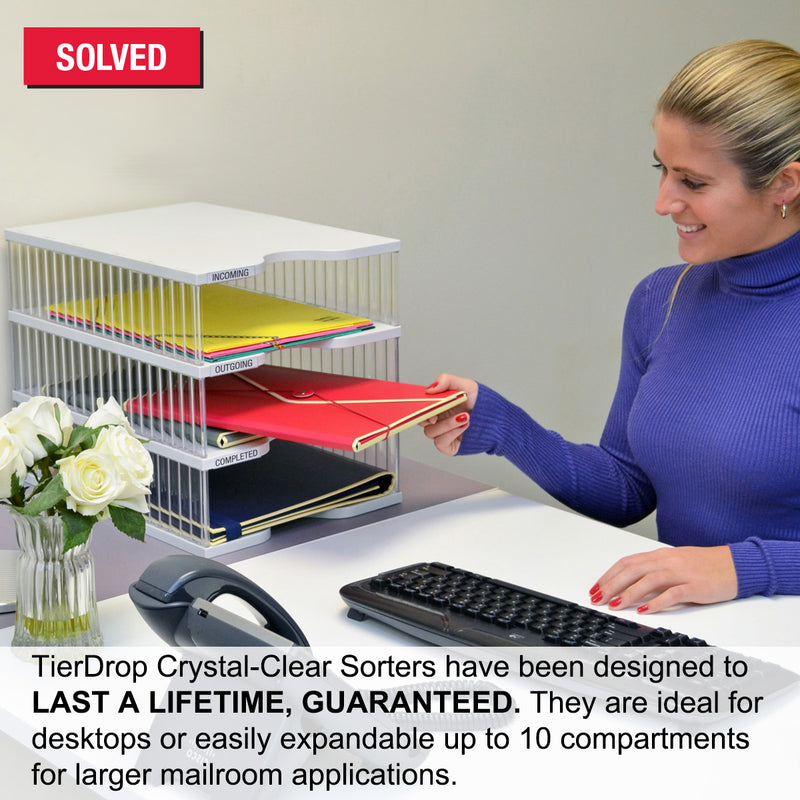 Ultimate Office TierDrop™ Desktop Organizer Document, Forms, Mail, and Classroom Sorter. 6 Extra Large, (1w x 6h), Crystal Clear Compartments with Optional Add-On Tiers for Easy Expansion - Lifetime Guarantee!