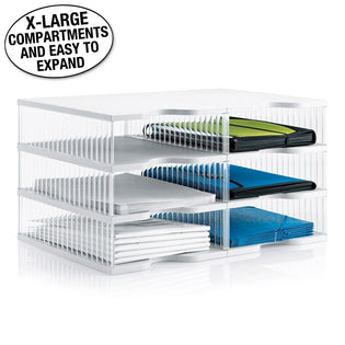 Ultimate Office TierDrop™ Desktop Organizer Document, Forms, Mail, and Classroom Sorter. 6 Extra Large, (2w x 3h), Crystal Clear Compartments with Optional Add-On Tiers for Easy Expansion - Lifetime Guarantee!