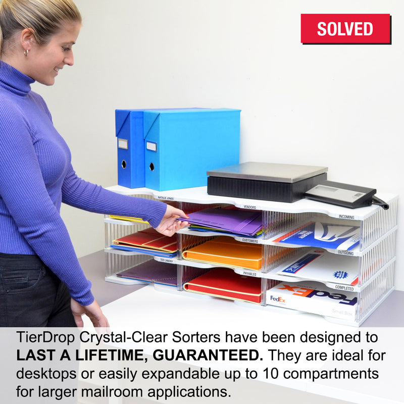 Ultimate Office TierDrop™ Desktop Organizer Document, Forms, Mail, and Classroom Sorter. 9 Extra Large, (3w x 3h), Crystal Clear Compartments with Optional Add-On Tiers for Easy Expansion - Lifetime Guarantee!
