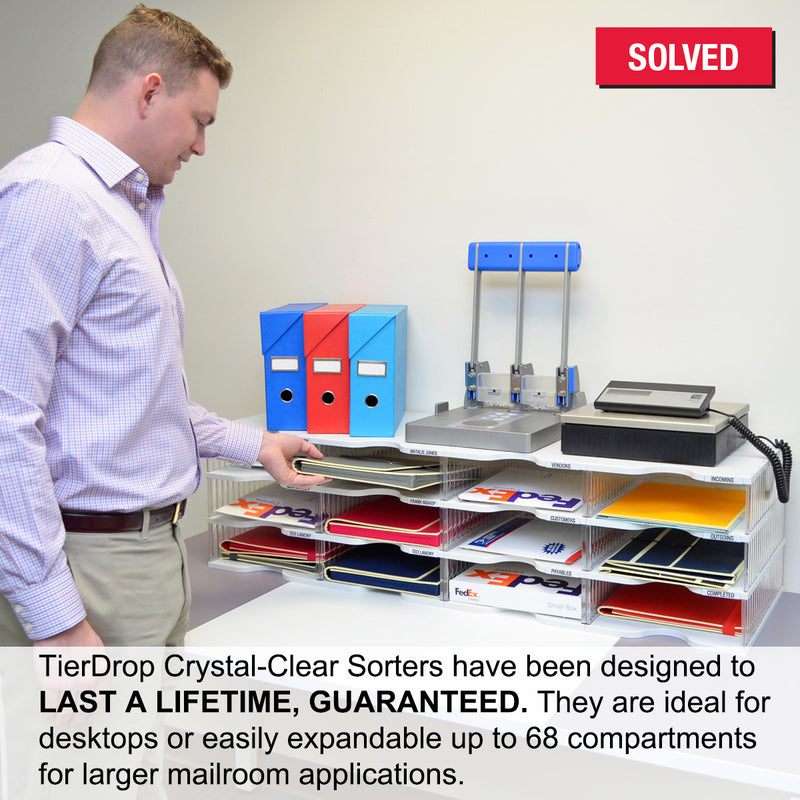Ultimate Office TierDrop™ Desktop Organizer Document, Forms, Mail, and Classroom Sorter. 48 Extra Large, (4w x 12h), Crystal Clear Compartments with Optional Add-On Tiers for Easy Expansion - Lifetime Guarantee!