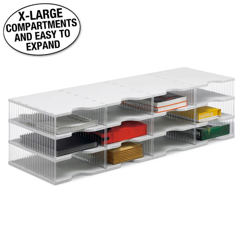 Ultimate Office TierDrop™ Desktop Organizer Document, Forms, Mail, and Classroom Sorter. 12 Extra Large, (4w x 3h), Crystal Clear Compartments with Optional Add-On Tiers for Easy Expansion - Lifetime Guarantee!