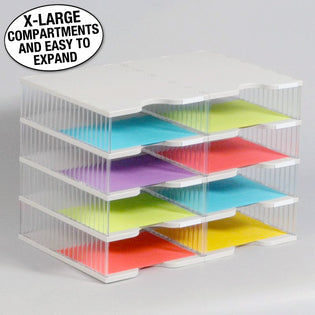 Ultimate Office TierDrop™ Desktop Organizer Document, Forms, Mail, and Classroom Sorter. 8 Extra Large, (2w x 4h), Crystal Clear Compartments with Optional Add-On Tiers for Easy Expansion - Lifetime Guarantee!