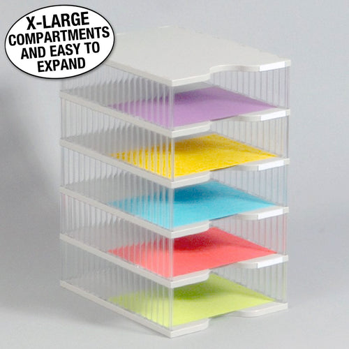Ultimate Office TierDrop™ Desktop Organizer Document, Forms, Mail, and Classroom Sorter. 5 Extra Large, (1w x 5h), Crystal Clear Compartments with Optional Add-On Tiers for Easy Expansion - Lifetime Guarantee!