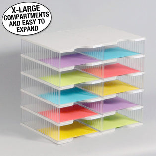 Ultimate Office TierDrop™ Desktop Organizer Document, Forms, Mail, and Classroom Sorter. 10 Extra Large, (2w x 5h), Crystal Clear Compartments with Optional Add-On Tiers for Easy Expansion - Lifetime Guarantee!