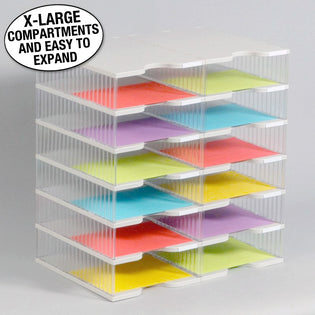 Ultimate Office TierDrop™ Desktop Organizer Document, Forms, Mail, and Classroom Sorter. 12 Extra Large, (2w x 6h), Crystal Clear Compartments with Optional Add-On Tiers for Easy Expansion - Lifetime Guarantee!