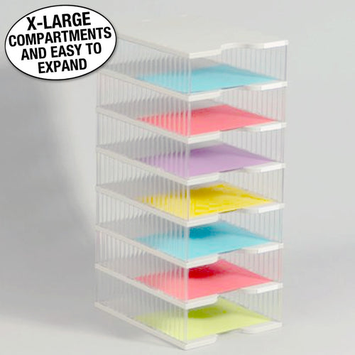 Ultimate Office TierDrop™ Desktop Organizer Document, Forms, Mail, and Classroom Sorter. 7 Extra Large, (1w x 7h), Crystal Clear Compartments with Optional Add-On Tiers for Easy Expansion - Lifetime Guarantee!