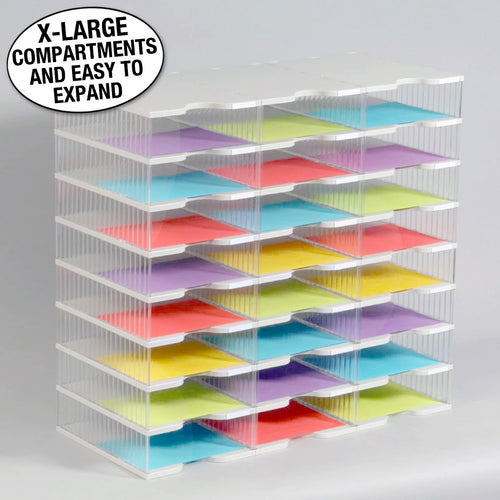 Ultimate Office TierDrop™ Desktop Organizer Document, Forms, Mail, and Classroom Sorter. 24 Extra Large, (3w x 8h), Crystal Clear Compartments with Optional Add-On Tiers for Easy Expansion - Lifetime Guarantee!