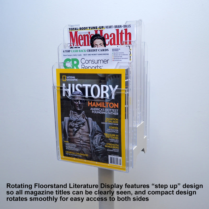 6-Pocket Revolving Literature Display PLUS+ Label Holder (pack of 8), Clear