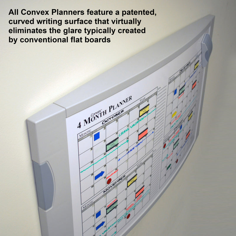 "Ultimate Office Convex Dry Erase 120-Day Monthly Magnetic Planning Board, 36"" x 24"" Curved Surface with Two Hidden Marker / Storage Drawers and Easy Mount Wall Hardware"