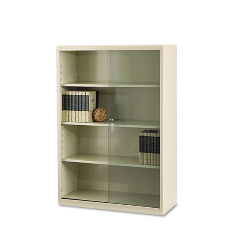 4 Shelf Executive Metal Bookcase W Locking Glass Doors