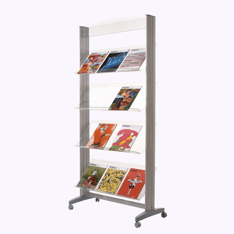 4-Shelf Mobile Literature Display w/Acrylic Shelves