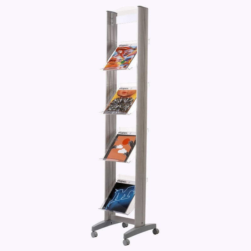 4-Shelf Mobile Literature Tower w/Acrylic Shelves