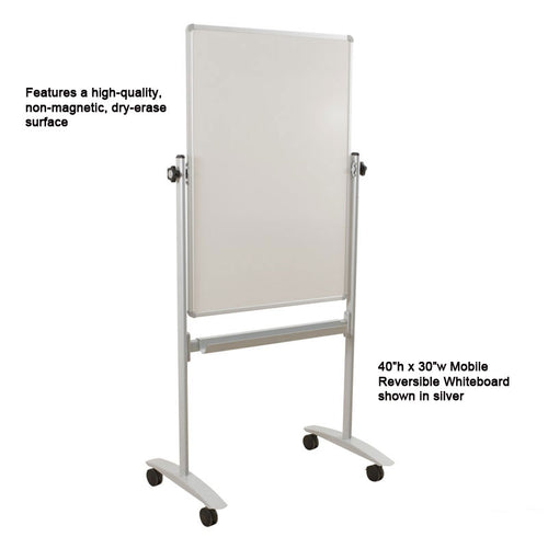 "40""h x 30""w Mobile Dura-Rite (Non-Magnetic) Reversible Whiteboard, Silver"