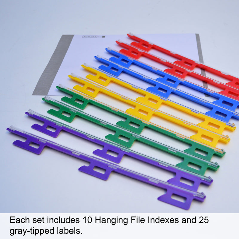 Ultimate Office MagniFile® Hanging File Indexes Turn ANY Standard Hanging File Into a MagniFile to Find Your Files FAST! Set of 10 with 25 Index Strips.