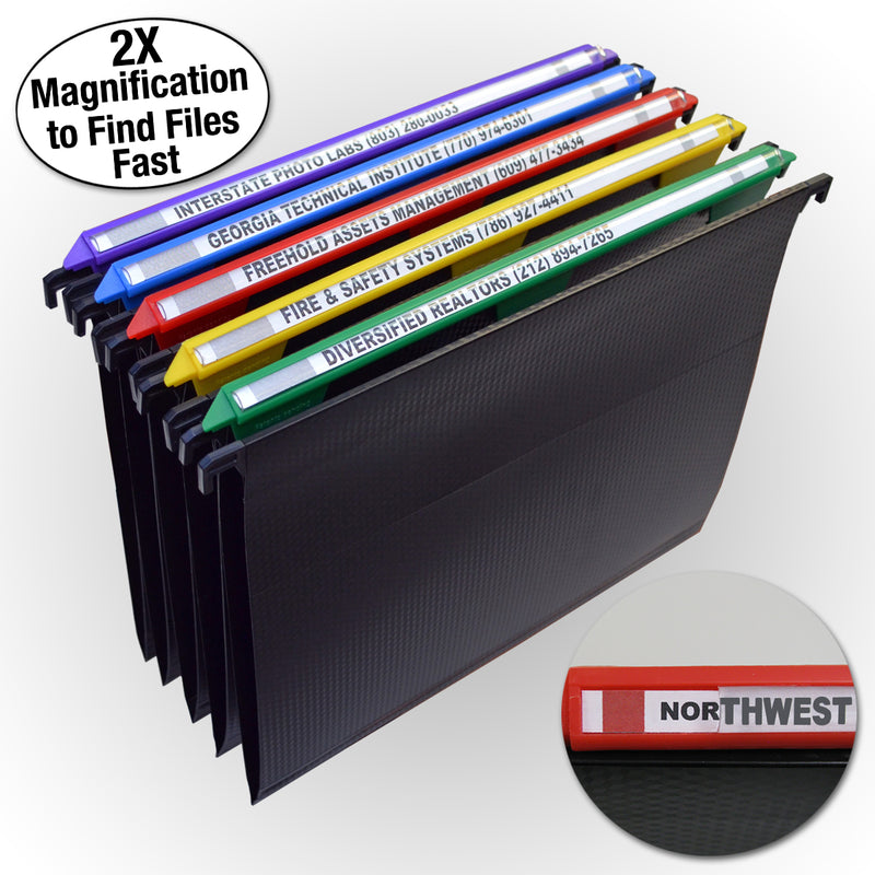 "Ultimate Office MagniFile® Hanging File Folders V-Base, Letter Size with 11"" Magnified Indexes that DOUBLE THE SIZE of Your File Titles to FIND FILES FAST. Set of 5 Assorted with 25 Index Strips and AN UNCONDITIONAL LIFETIME GUARANTEE!"