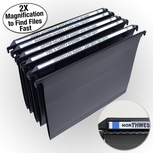 "Ultimate Office MagniFile® Hanging File Folders V-Bottom, Letter Size With 11"" Magnified Indexes That DOUBLE THE SIZE of Your File Titles to FIND FILES FAST. Set of 5, Black, with 25 Index Strips and AN UNCONDITIONAL LIFETIME GUARANTEE!"
